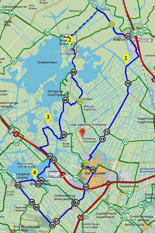 Fahrradroute die 4 pontjes Fähren route